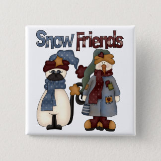 Snow Friends Tshirts and Gifts 2 Inch Square Button