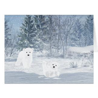Snow Fun - Polar Bear Cubs Card