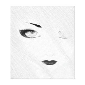 Snow Geisha Black and White Canvas Print