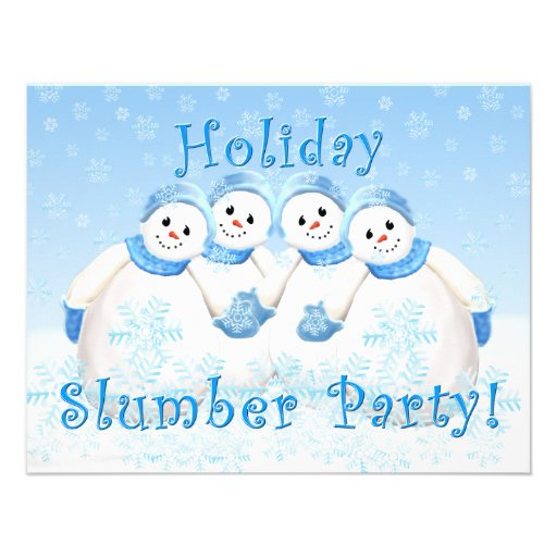 Snow Girls Holiday Slumber Party Invitations