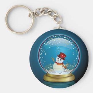 Snow Globe 2 Basic Round Button Keychain