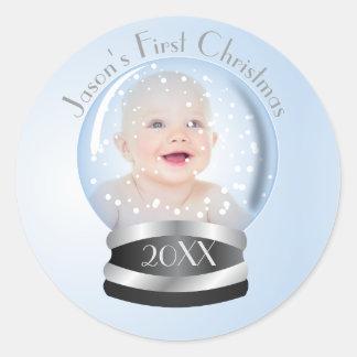 Snow Globe blue boy Baby's 1st Christmas Photo Classic Round Sticker