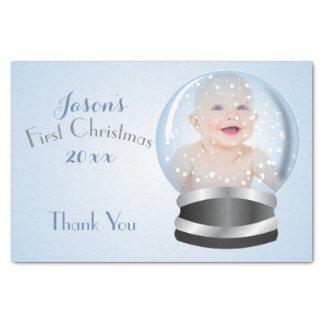 Snow Globe blue boy Baby's 1st Christmas Photo Tissue Paper