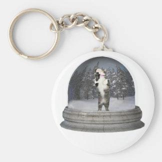 Snow globe cat key chains