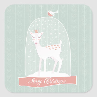 Snow Globe Deer|Merry Christmas Square Sticker