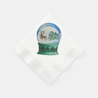 Snow Globe Glass Ball Winter Wonderland Christmas Disposable Napkins