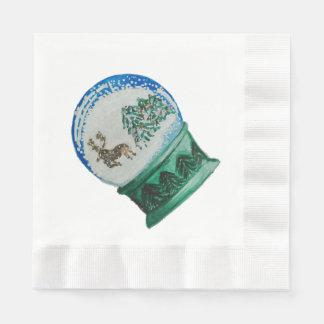 Snow Globe Glass Ball Winter Wonderland Christmas Paper Napkins