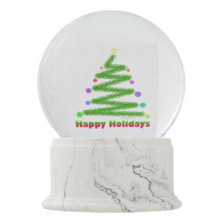 SNOW GLOBE - HAPPY HOLIDAYS CHRISTMAS TREE DESIGN