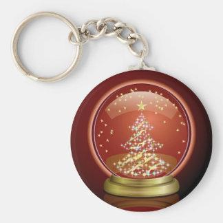 Snow Globe Basic Round Button Keychain