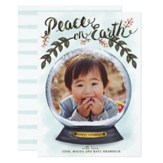Snow Globe Peace on Earth Holidays Photo Card