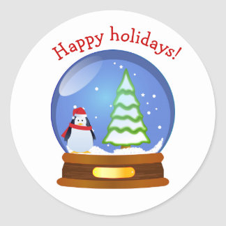 Snow globe penguin happy holidays sticker
