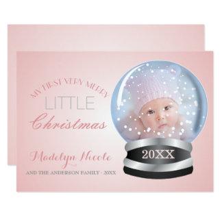 Snow Globe Pink Girl Baby's 1st Christmas Photo Card