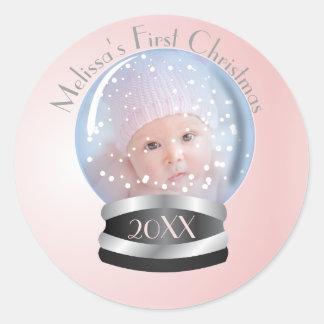 Snow Globe Pink Girl Baby's 1st Christmas Photo Classic Round Sticker