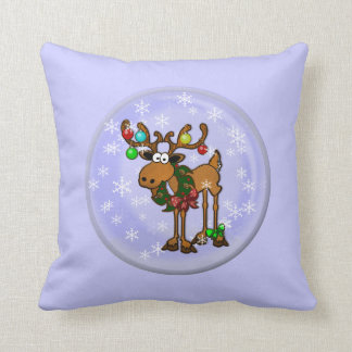 Snow Globe Reindeer Pillow