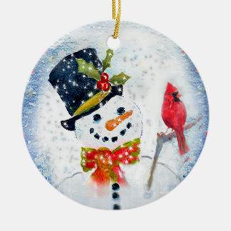Snow Globe Snowman & Cardinal Ceramic Ornament