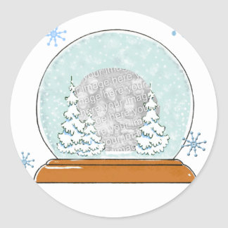 snow globe template classic round sticker