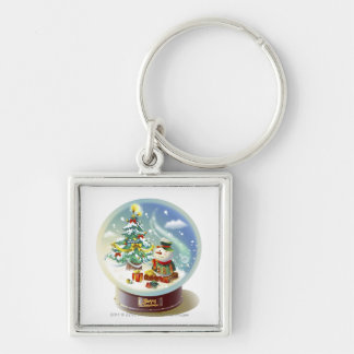 Snow globe with snowman and Christmas tree Keychain