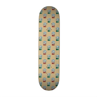 Snow Globes Mixed Pattern Christmas Gold Backdrop Skate Decks