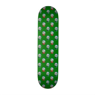 Snow Globes Mixed Pattern on Christmas Green Skate Board Deck