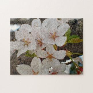 Snow Goose Ornamental Japanese Cherry Jigsaw Puzzle