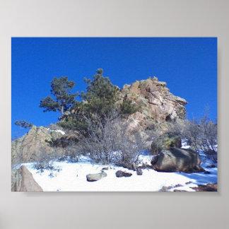 Snow, granite, evergreen under Colorado blue sky Poster