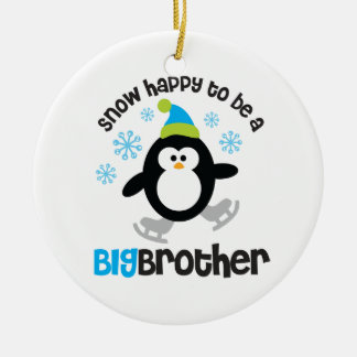 Snow Happy to be a Big Brother Round Ceramic Ornament