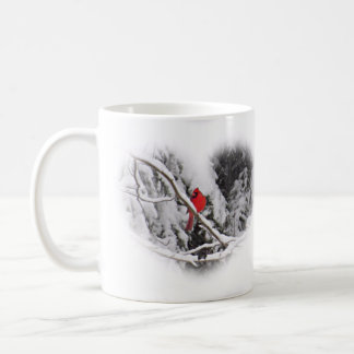 Snow Heart Cardinal - Bird Coffee Mug