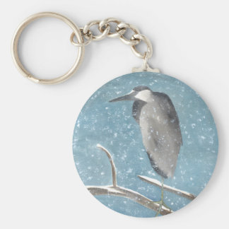 Snow Heron Keychain