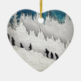 Snow Hike II Ceramic Heart Ornament