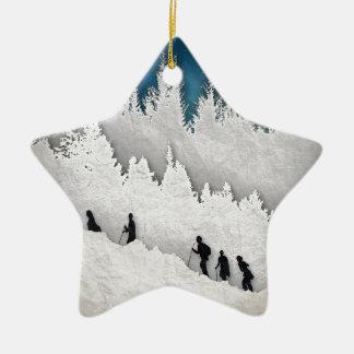 Snow Hike II Ceramic Star Ornament