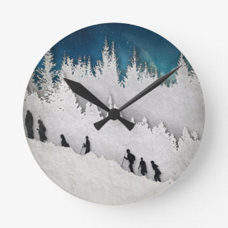 Snow Hike II Round Clock