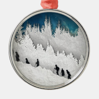 Snow Hike II Silver-Colored Round Ornament