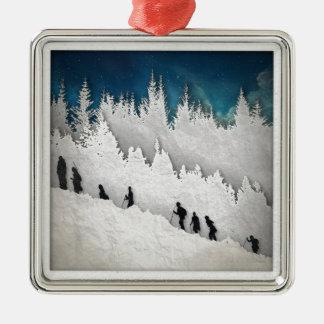 Snow Hike II Silver-Colored Square Ornament