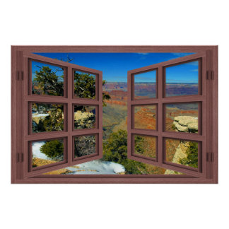 Snow In Grand Canyon 6 Pane Open Window Poster