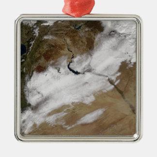 Snow in Syria Silver-Colored Square Ornament
