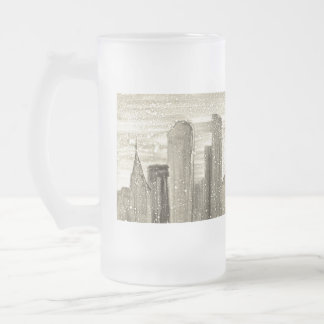 Snow in the City Abstract Art Sepia Grey and White 16 Oz Frosted Glass Beer Mug