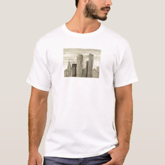 Snow in the City Abstract Art Sepia Grey and White T-Shirt