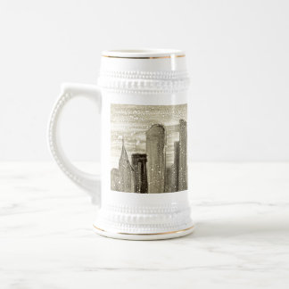 Snow in the City Abstract Monotype Print 18 Oz Beer Stein