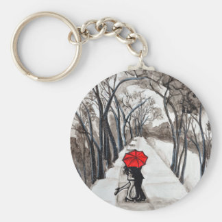 Snow Kiss Romantic painting Basic Round Button Keychain