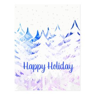 Snow Laden Christmas Trees Blue Purple & White Postcard