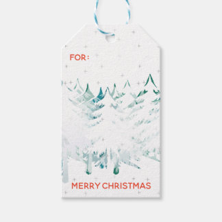 Snow Laden Christmas Trees in Greens & White Gift Tags