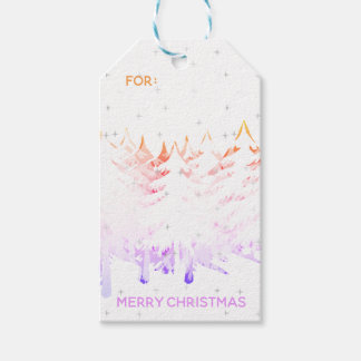 Snow Laden Christmas Trees in Orange Violet White Gift Tags