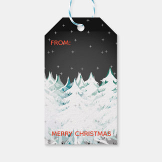Snow Laden Christmas Trees Night Sky Gift Tags