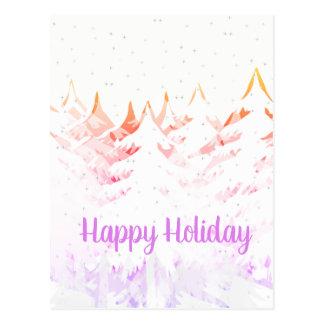 Snow Laden Christmas Trees Orange Purple & White Postcard