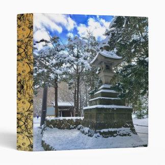 Snow-laden Japanese Lantern 3 Ring Binder