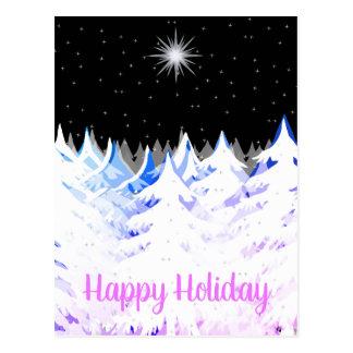 Snow Laden Trees Blue Purple Stars Night Sky Postcard