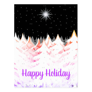 Snow Laden Trees Orange Purple Stars Night Sky Postcard