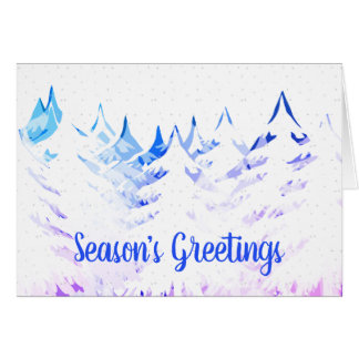 Snow Laden Trees Purple Blue Aqua White Christmas Card
