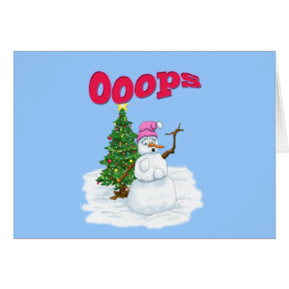 Snow lady with christmas tree OOps Greeting Card