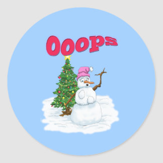 Snow lady with christmas tree OOps Round Sticker